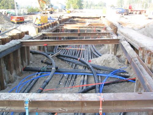 [Foto: Werk aan kabelkluwen nabij de Zuid-as Amsterdam, waar BBForce bij betrokken was]