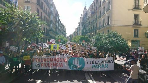 [Demonstratie tegen stierengeveachten in Madrid]