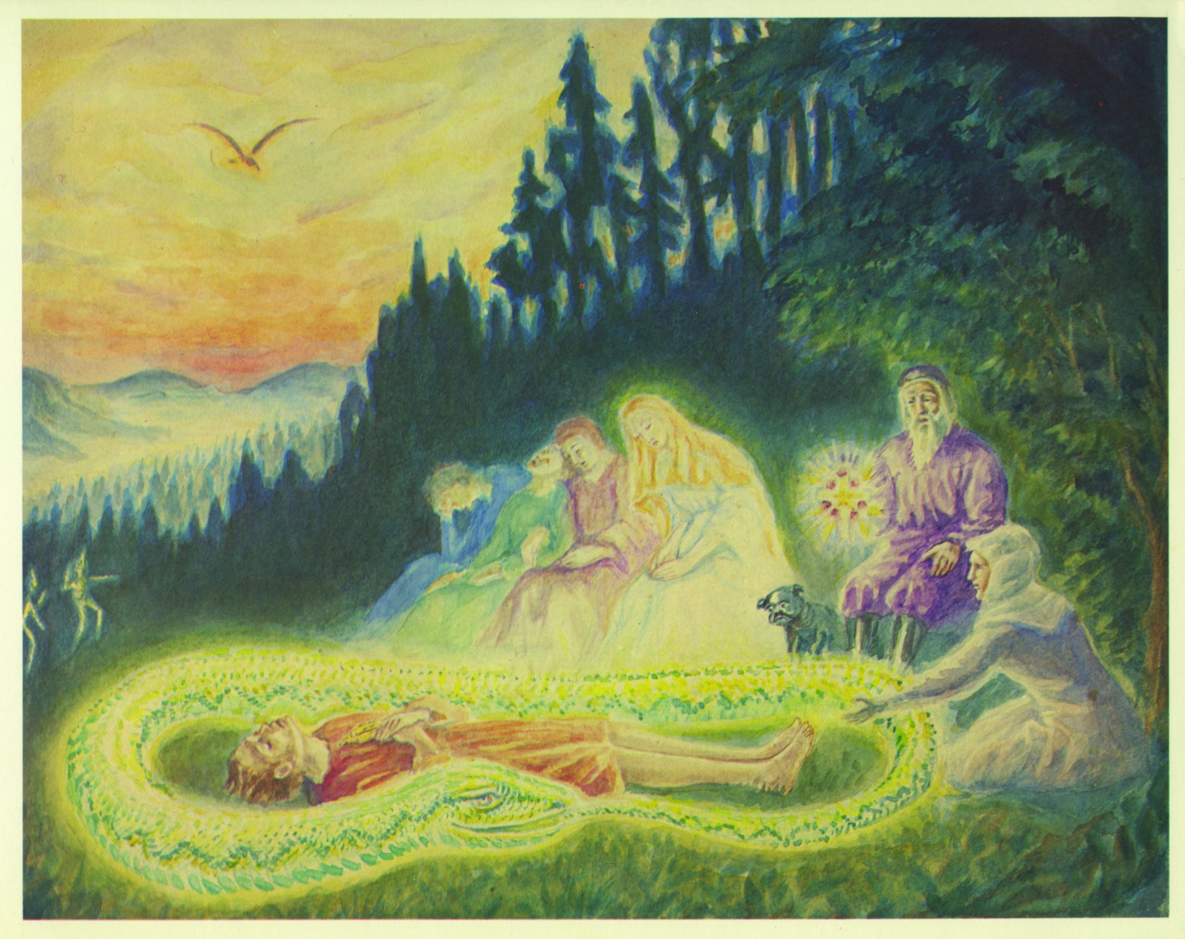 [Aquarel van Daniel van Bemmelen in Nederlandse vertaling van Goethe's sprookje De Groene Slang en de Schone Lelie]