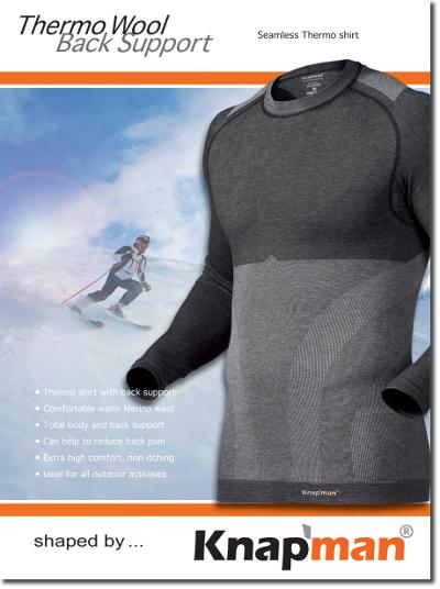 Om wintersporters warm te houden én een steuntje in de rug te geven, introduceert Knap'man Shapewear een volgens nieuw concept ontwikkeld thermo shirt van Merino wol met rugondersteuning, speciaal voor alle winterse activiteiten en sporten zoals skiën, schaatsen, snowboarden en langlaufen.