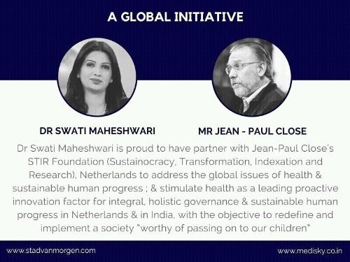 [Knipsel 'A Global Initiative' met portretten van Dr. Swati Maheshwari en Jean Paul Close]